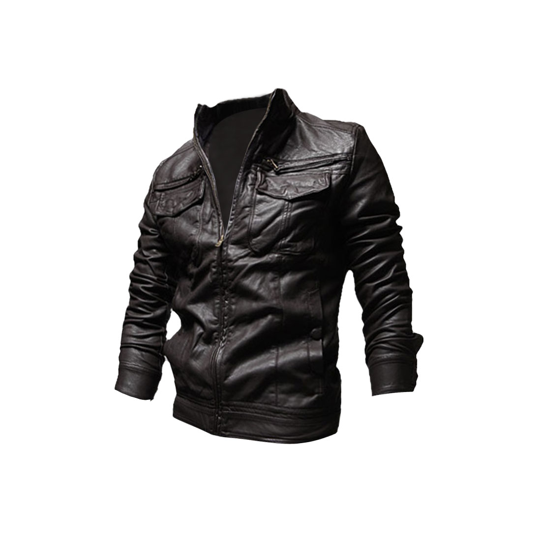 Men Zip Closure Long Sleeve Pockets Front Jacket Coffee M
