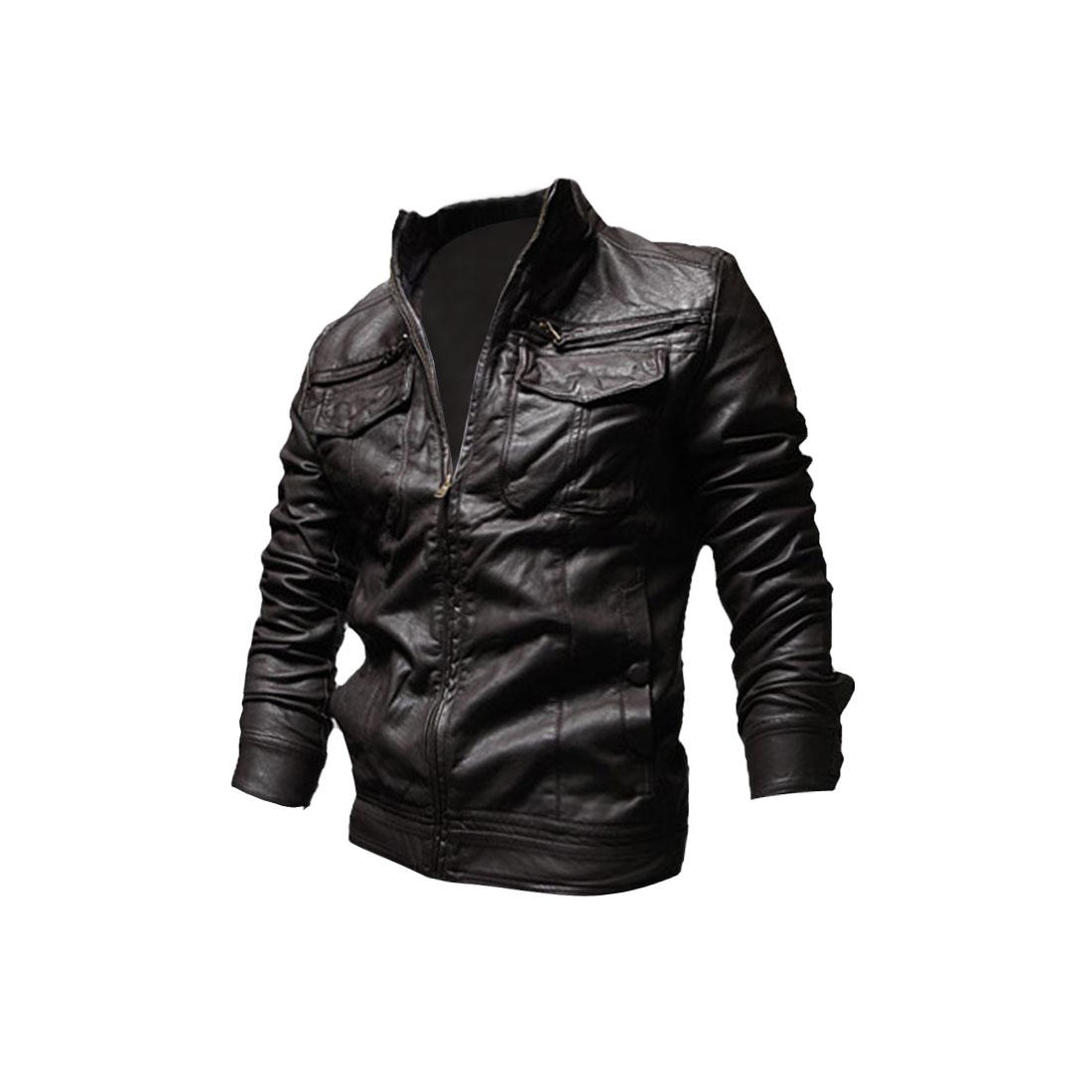 Men Zip Closure Long Sleeve Pockets Front Jacket Coffee M