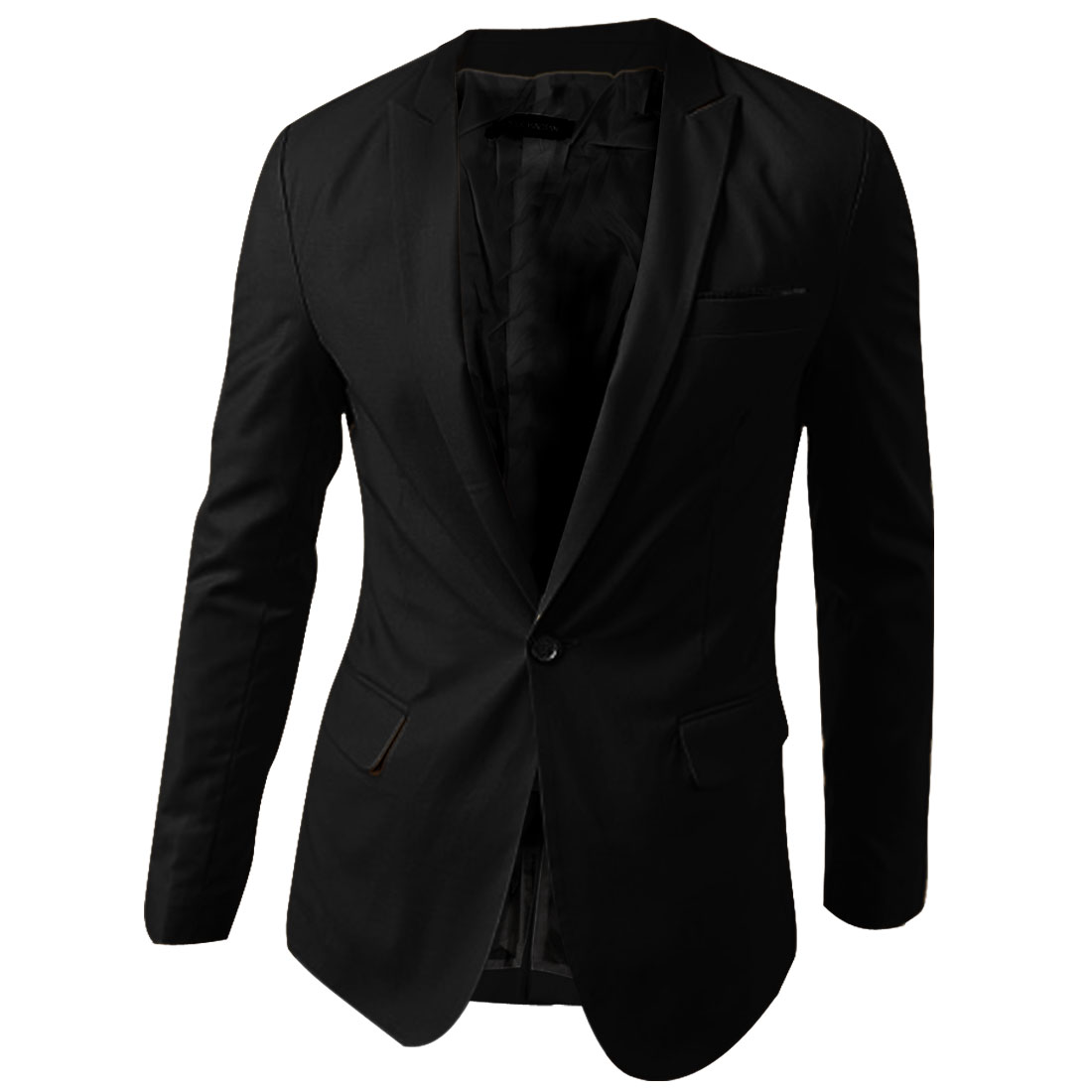 Man NEW One-Button Front Split Back Detail Pure Black Casual Blazer L