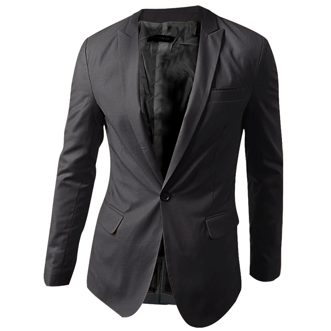 Chic Pure Dark Gray One-Button Front Split Back Detail Blazer for Man L