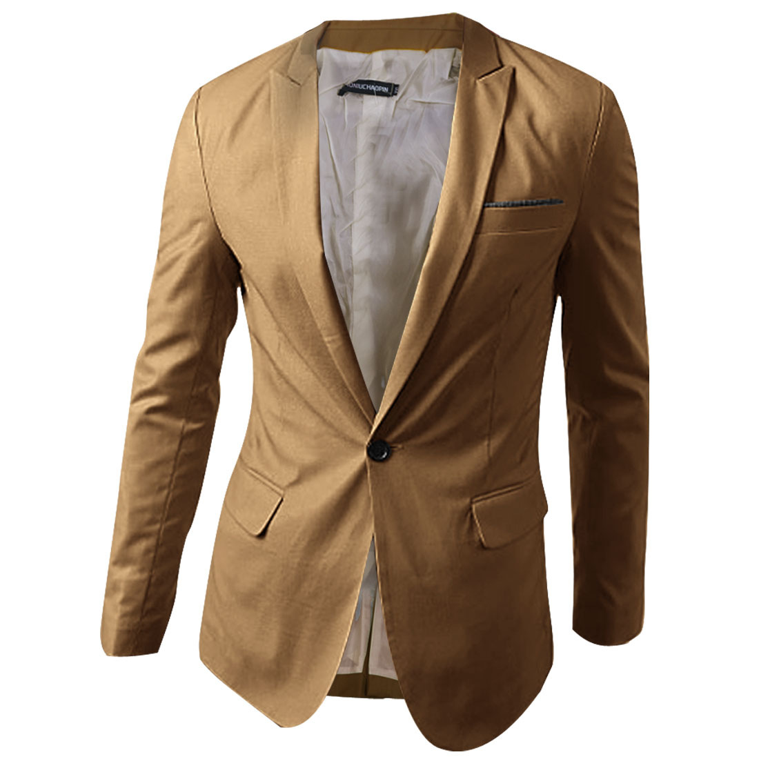 Mens Chic Notched Lapel Long Sleeve One-Button Front Khaki Casual Blazer L