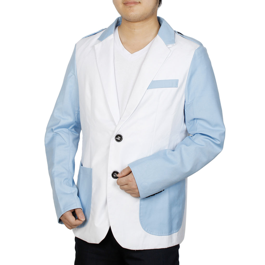 Men Long Sleeve Single Breasted Color Block Blazer White M