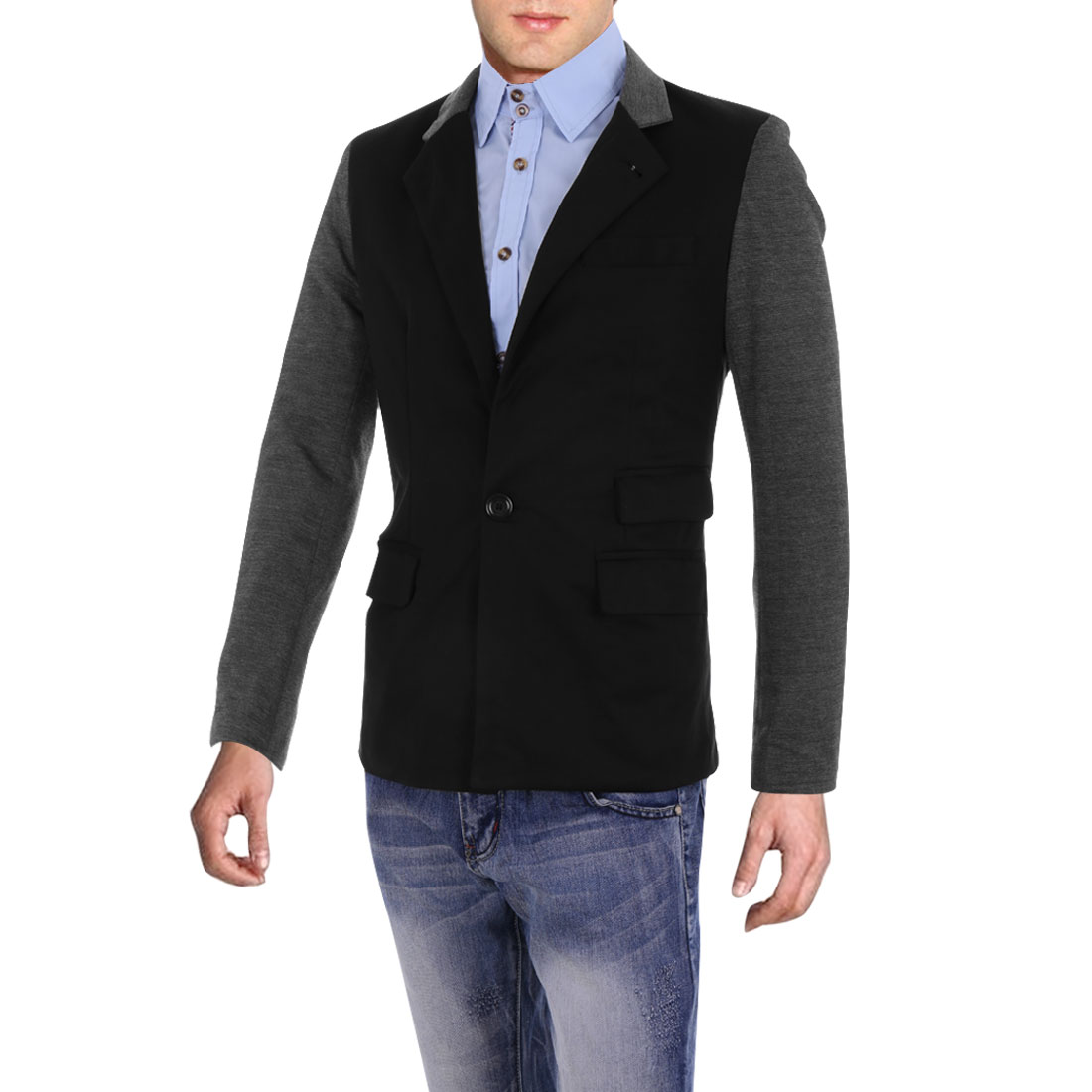 Men Stand Collar Button Up Color Blocking Blazer Black M