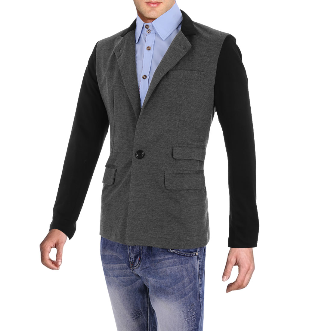 Men Long Sleeve Two Button Closure Blazer Dark Gray M