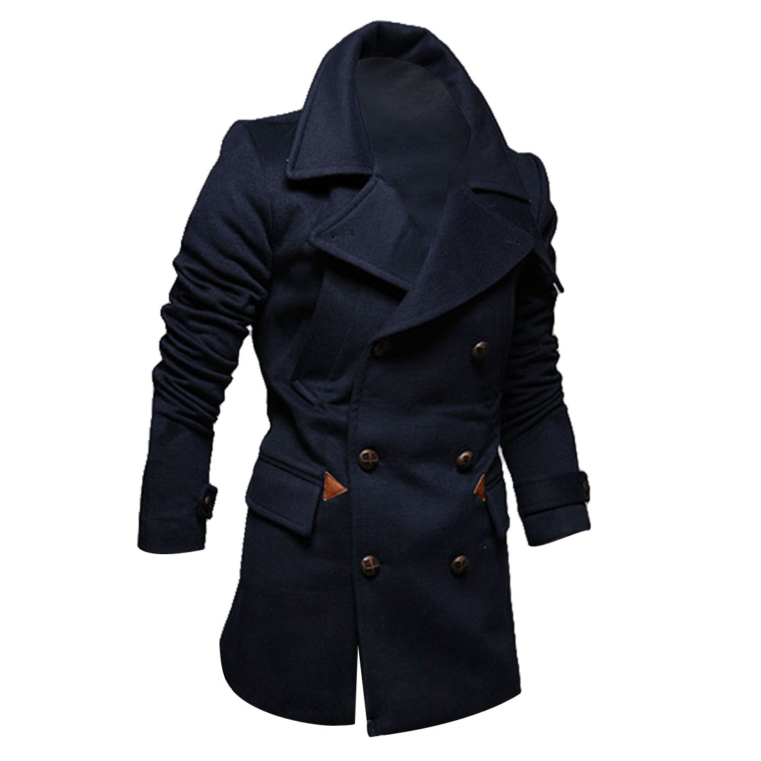 Men Convertible Collar Long Sleeve Soft Overcoat Navy Blue L