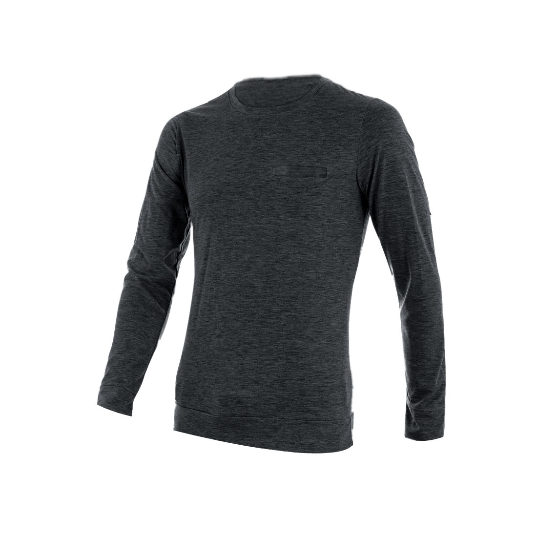 Men Round Neck Pullover Mock Pocket Shirt Dark Gray M