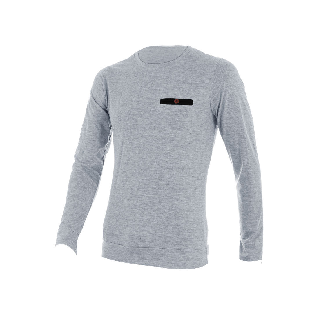 Men Pullover Long Sleeve Ribbing Shirt Light Gray M