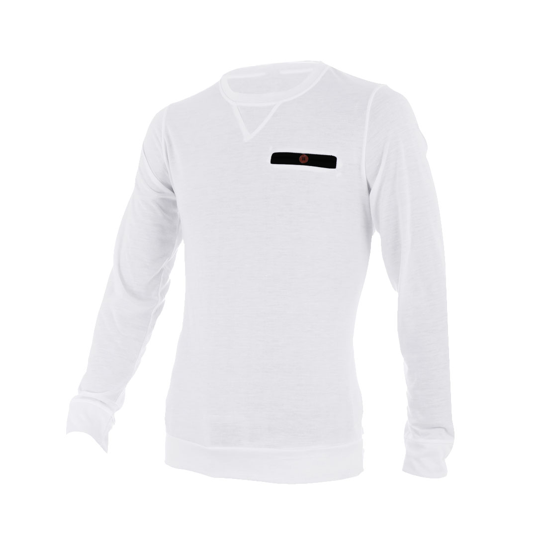 Men Round Neck Long Sleeve Button Decor Pocket Shirt White M