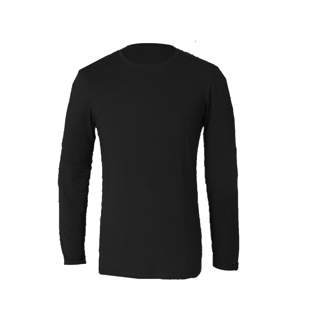 Mens Round Neck Long Sleeve Simple Design Pure Black Casual Shirt S