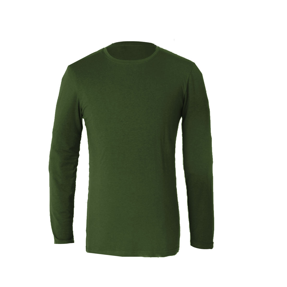 Man Stylish Army Green Color Round Neck Long Sleeve Casual Top Shirt S