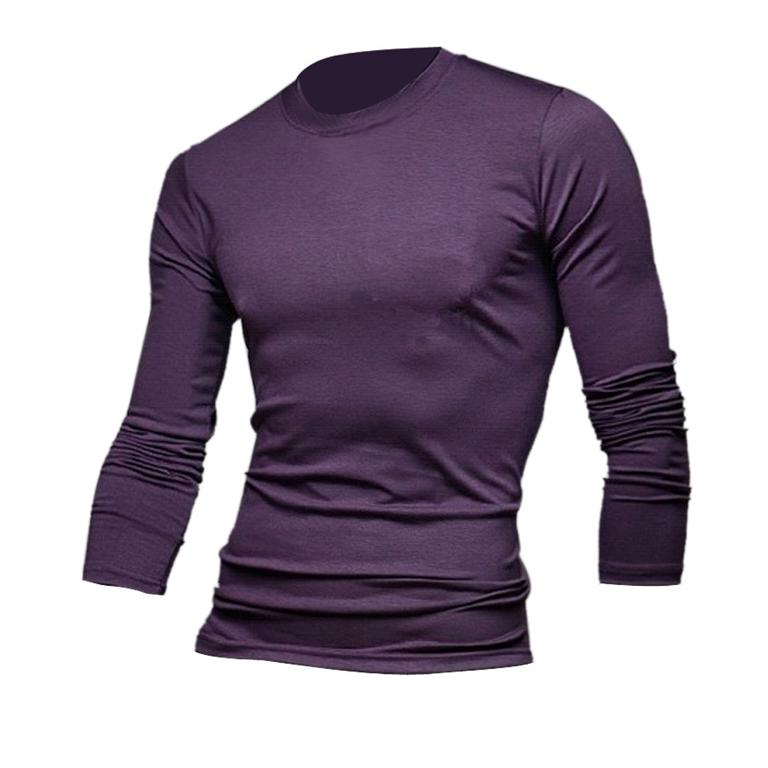 Mans Chic Round Neck Long Sleeve Pure Purple Color Casual Top Shirt S