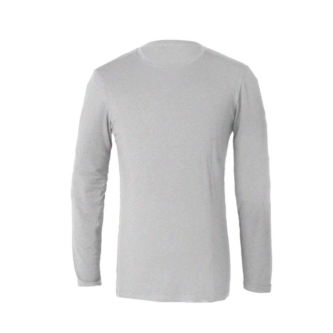 Mans Heather Gray Pure Color Round Neck Long Sleeve Casual Top Shirt S