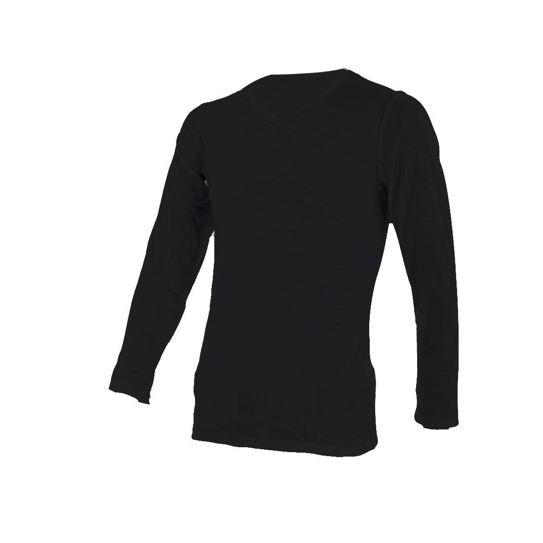 Men V Neck Long Sleeve Spring Wearing T-shirt Black S