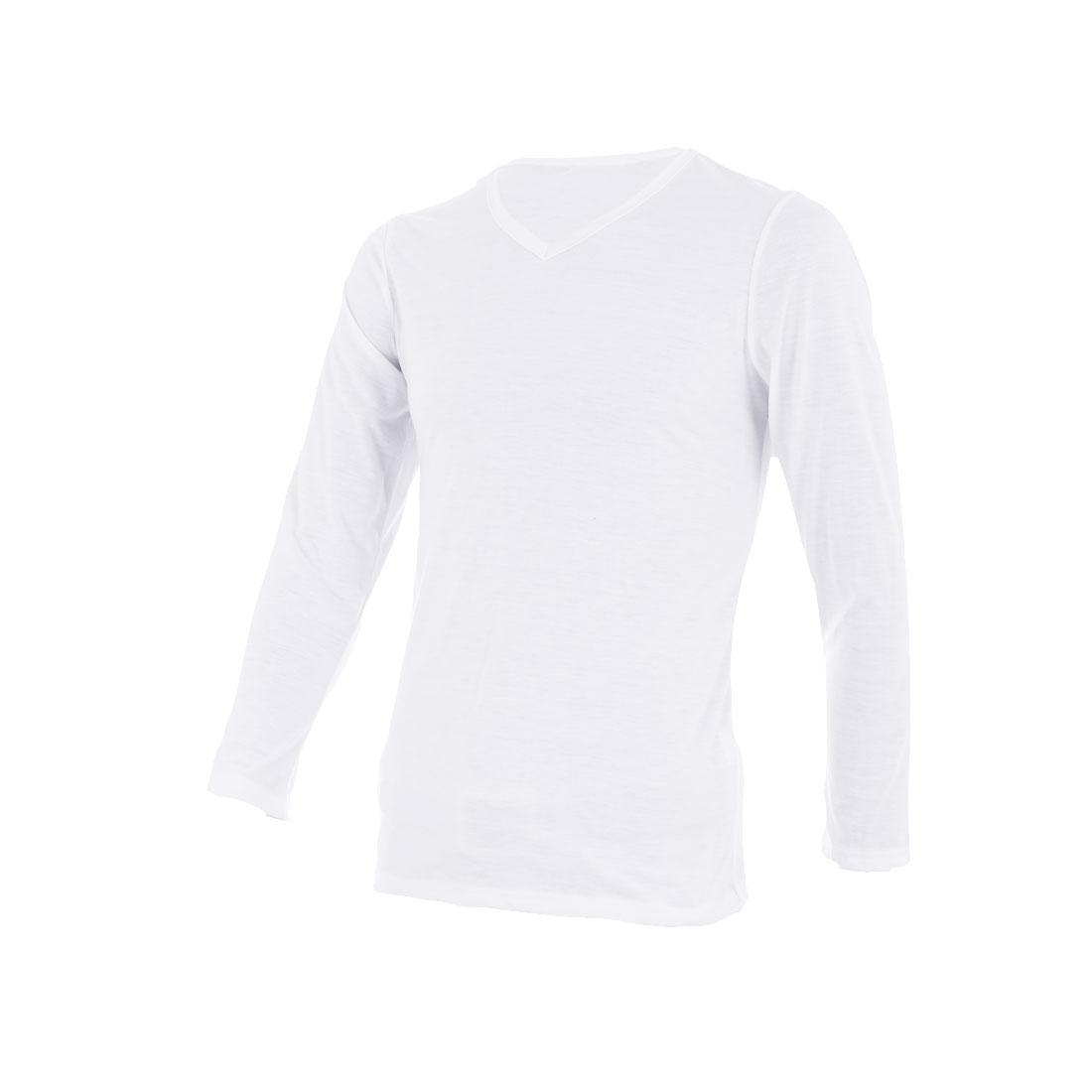 Men V Neck Pullover Autumn Wearing T-shirt White S