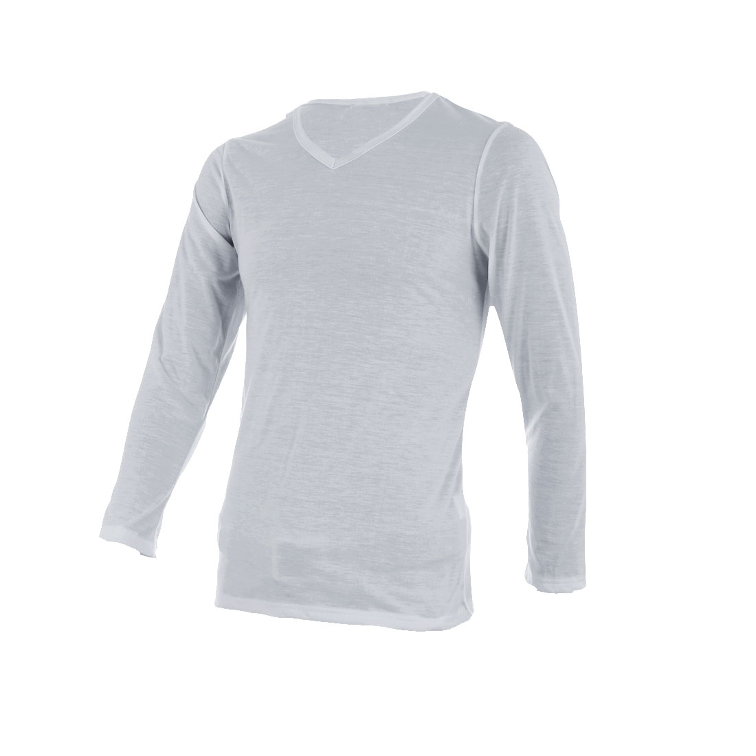 Men Pullover Long Sleeve Casual T-shirt Light Gray S