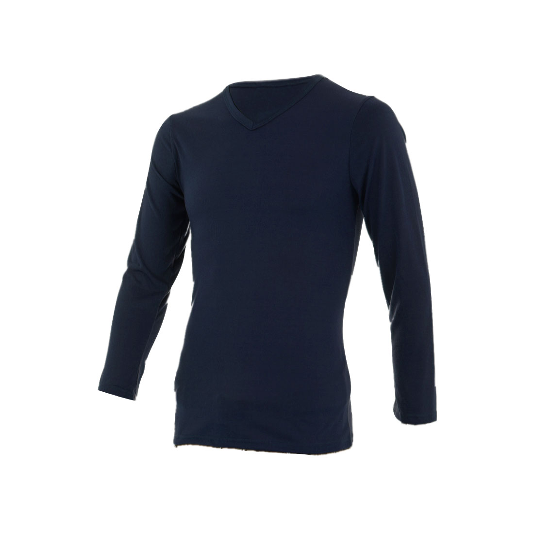 Stylish Men Pullover Stretchy T-shirt Navy Blue S