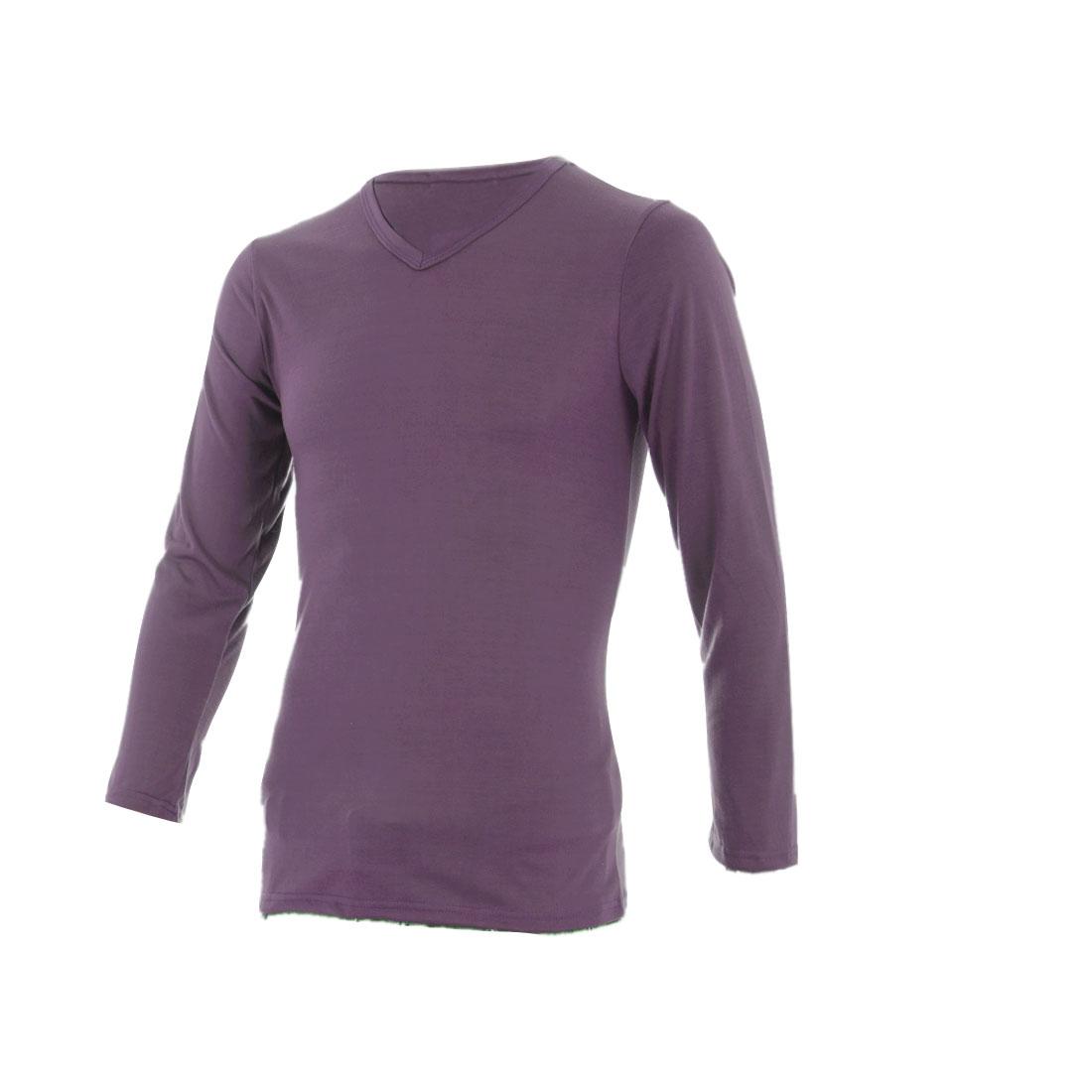 Fashion Men Long Sleeve Fall Simple T-shirt Purple S