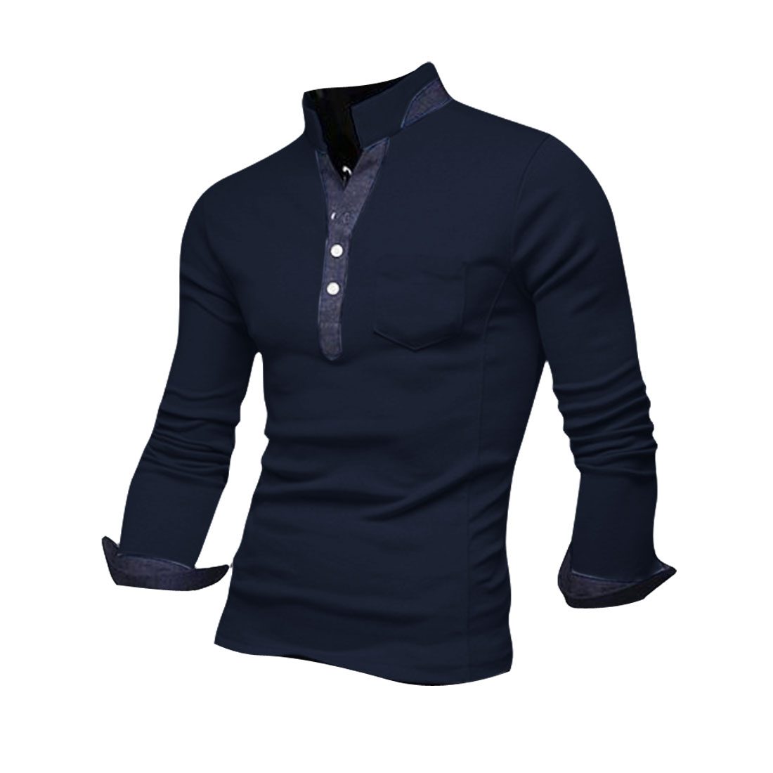 Man Chic Denim Splice Half Buttoned Front Design Dark Blue Polo Shirt M