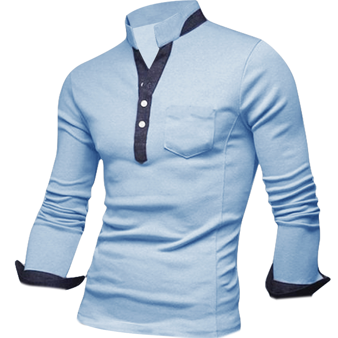 Stylish Mans Light Blue Color Half Buttoend Front Slim Fit Polo Shirt M