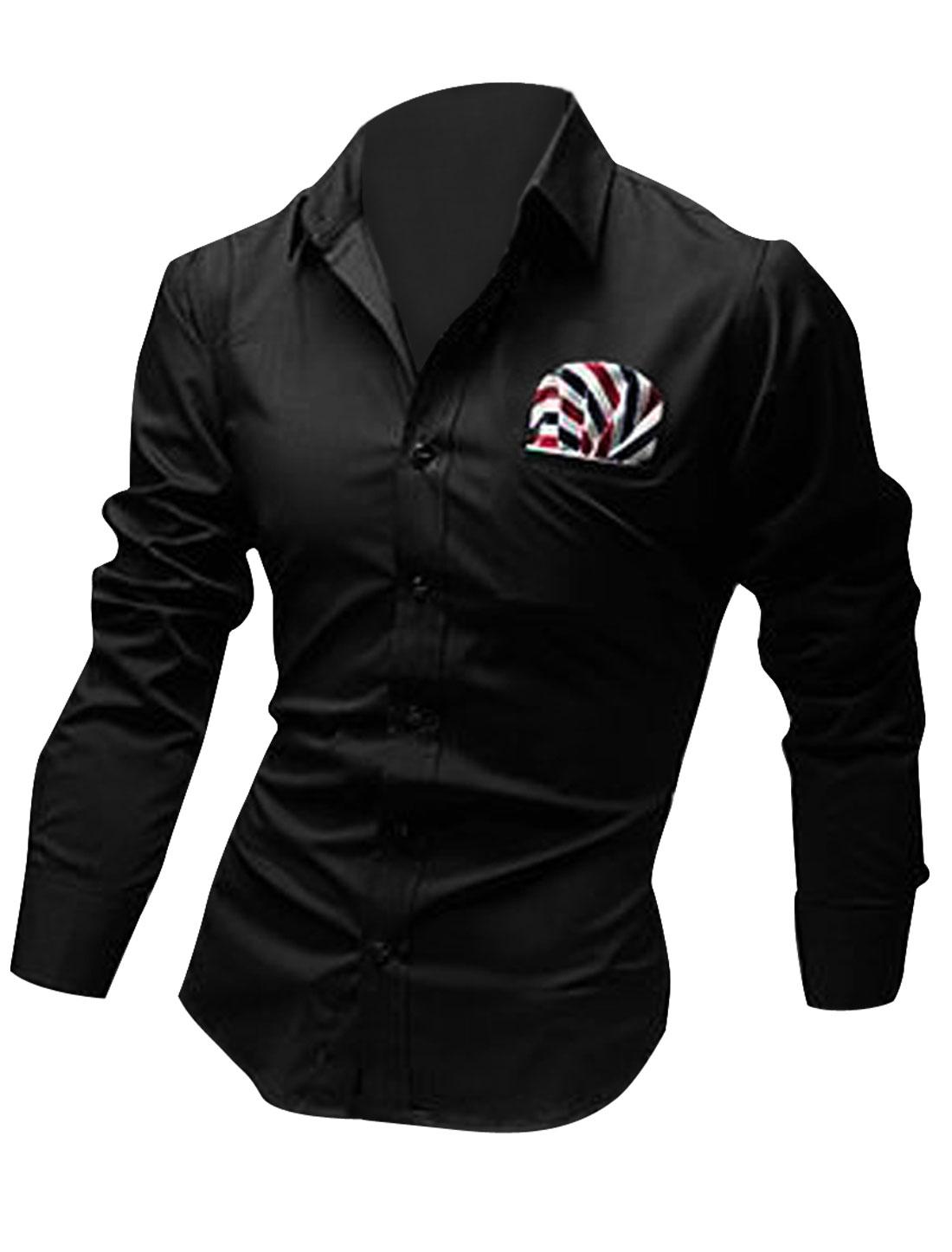 Men Button Front Stripes Decor Fake Pocket Shirt Black M