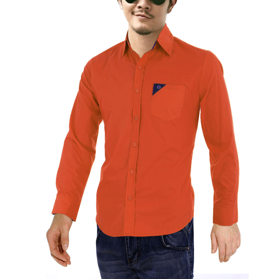 Men Point Collar Long Sleeve Splice Pocket Shirt Orange Red M