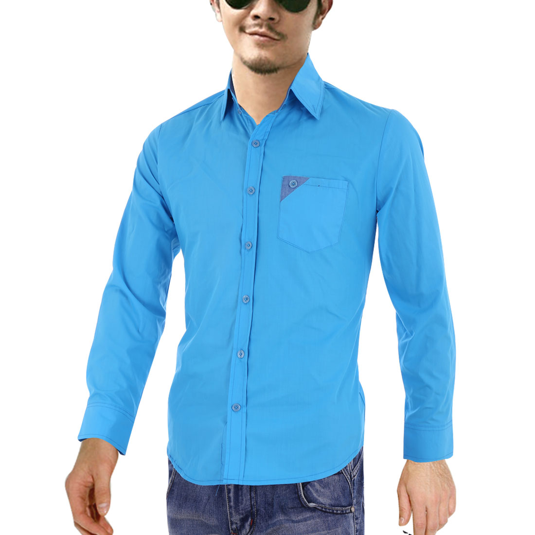 Men Long Sleeve Single Breasted Pocket Shirt Turquoise M