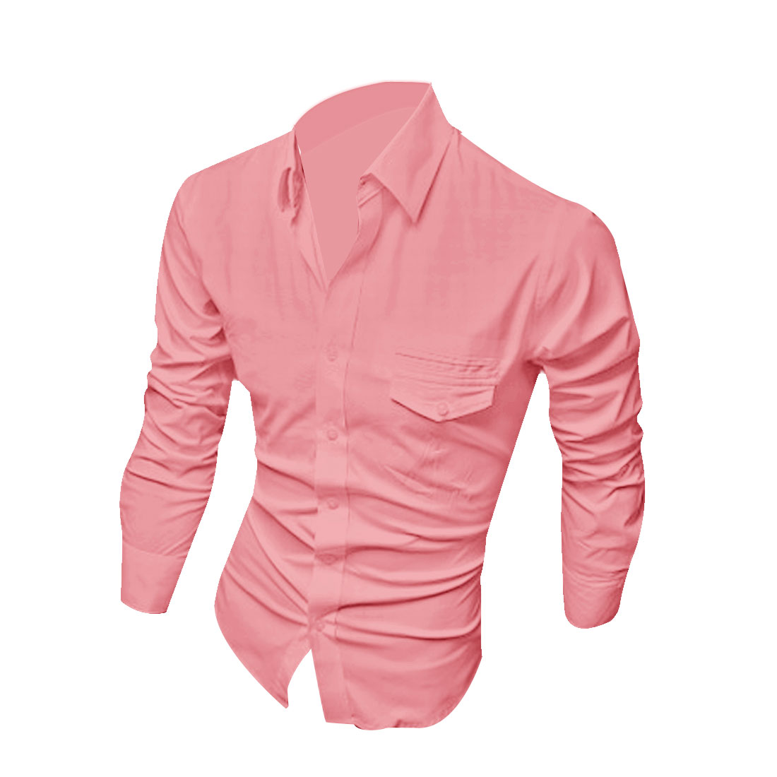 Man Point Collar Long Sleeve Single-Breasted Front Pink Casual Shirt M