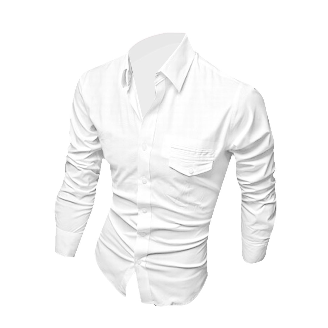 Fashion Pure White Single-Breasted Front Fake Chest Pocket Shirt for Man M