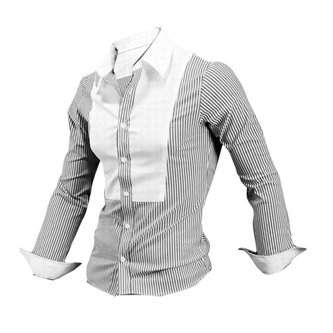 Men Point Collar Button Up Long Sleeve Stripes Shirt White Black M