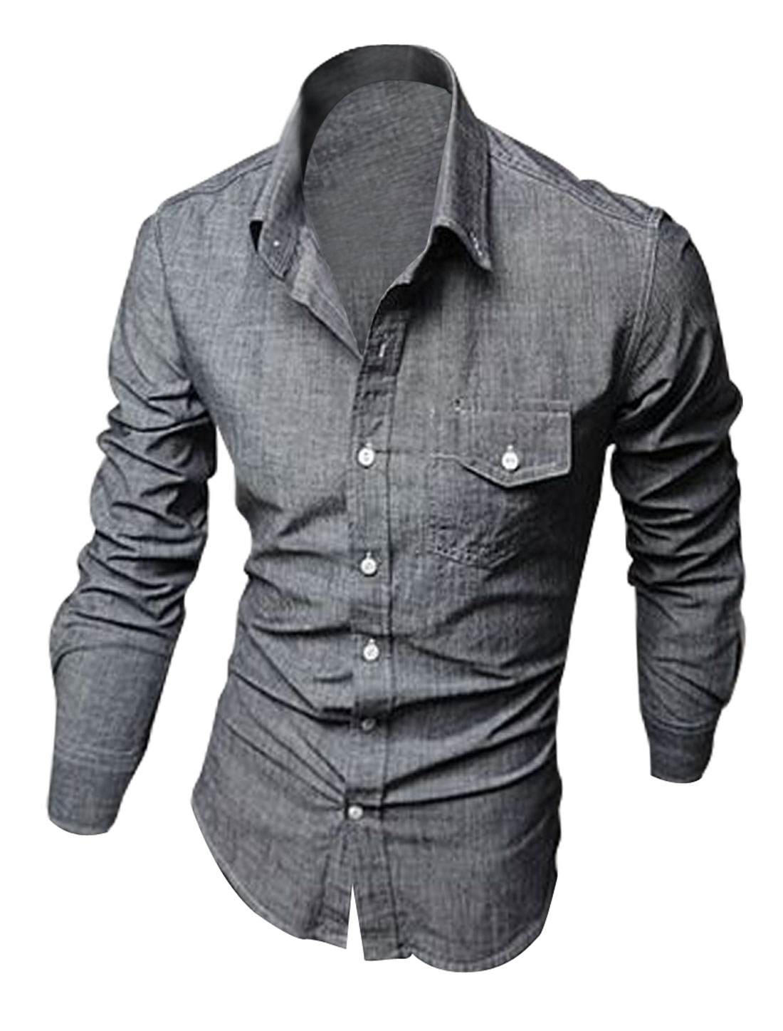 Man Chic Chest Flap Pockets Design Button Down Front Gray Denim Shirt M