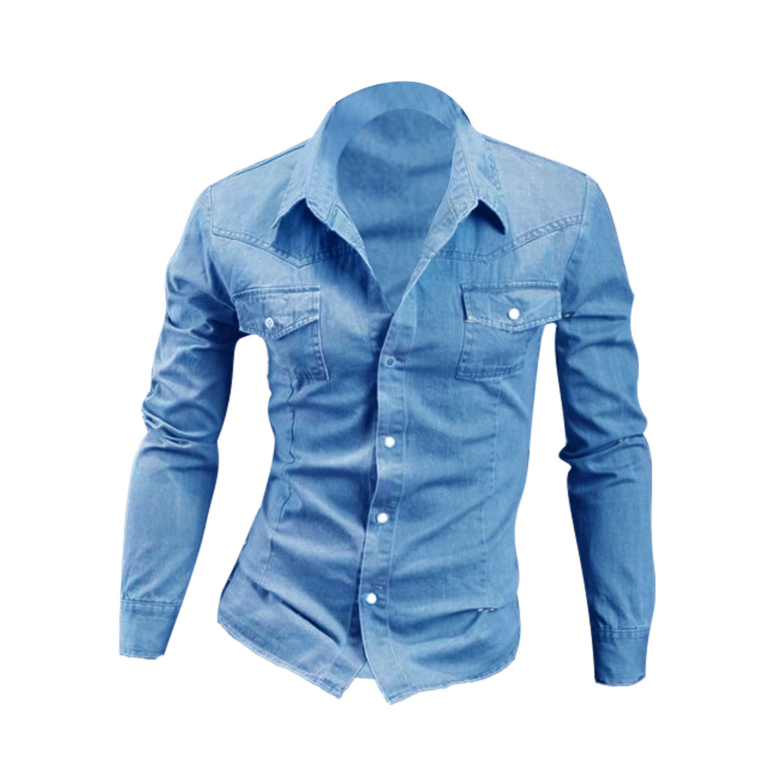 Men Button Down Long Sleeve Chest Pockets Denim Shirt Blue M