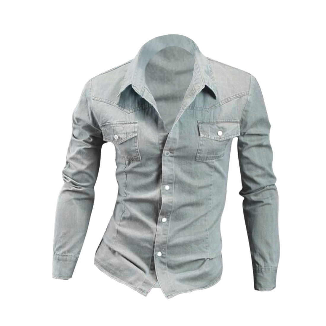 Men Point Collar Long Sleeve Denim Shirt Pale Blue M