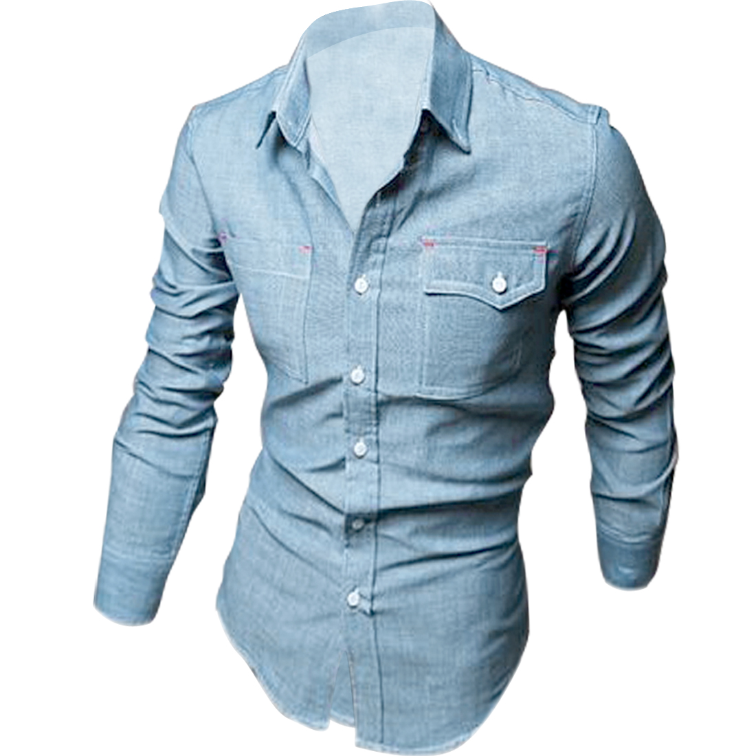 Mens Point Collar Long Sleeve Single-Breasted Front Light Blue Denim Shirt M