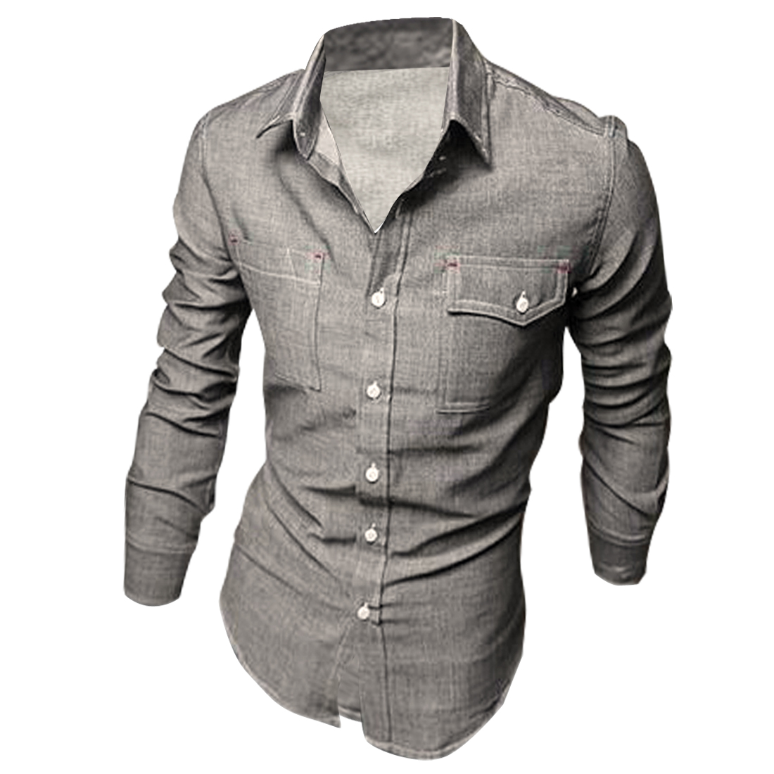 Man NEW Single-Brested Front Chest Patch Pockets Design Gray Denim Shirt M