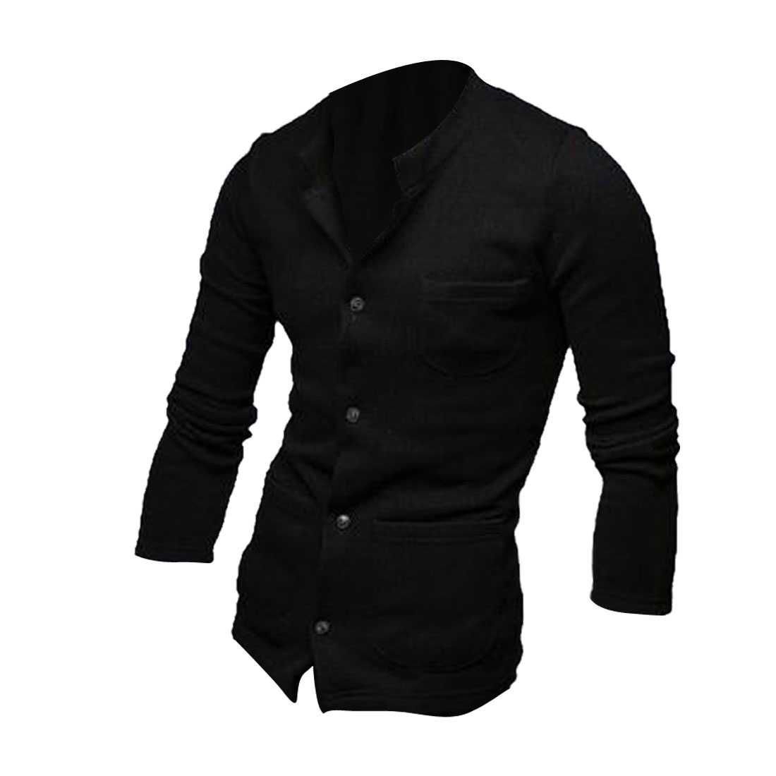 Men Button Up Long Sleeve Stretchy Warm Coat Black M