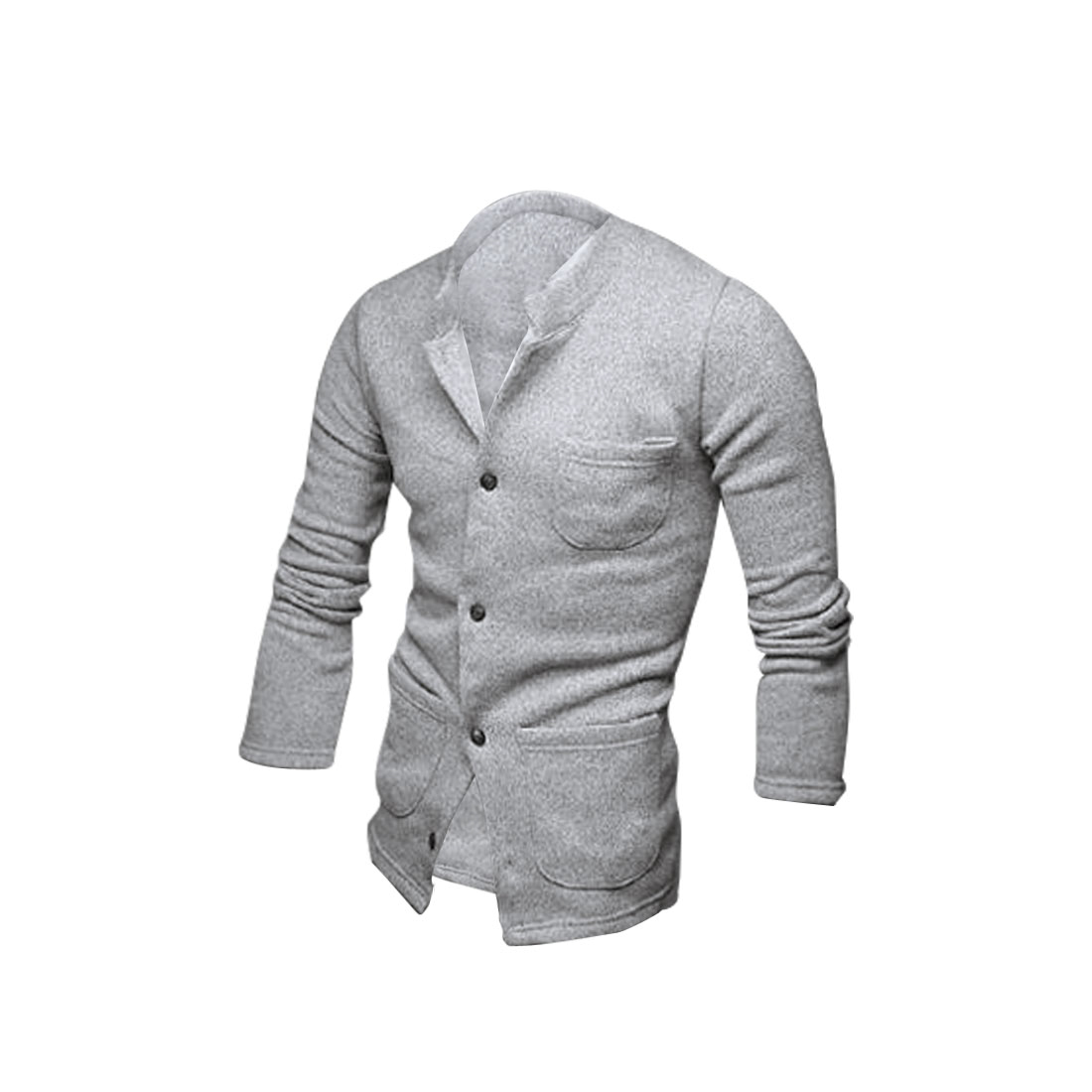 Men Convertible Collar Pockets Front Coat Light Gray M