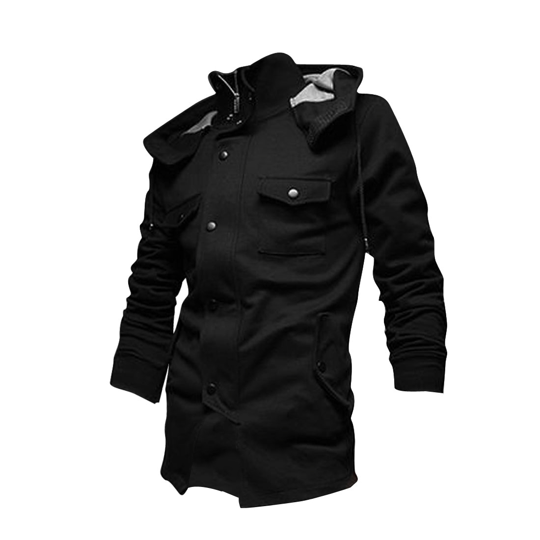 Men Hooded Zip Closure Long Sleeve Jacket Black L