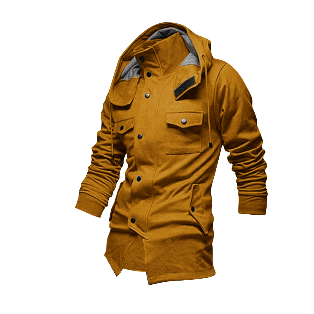 Men Stand Collar Single Breasted Jacket Ochre L