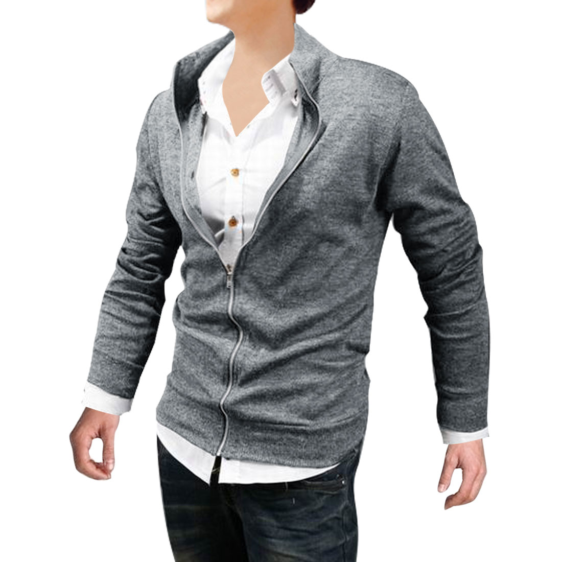 Man Chic Gray Color Zipper Up Front Closure Casual Spring Jacket Coat M