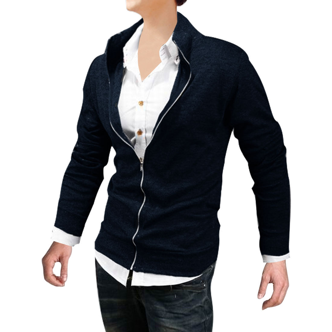 Mans NEW Fashion Pure Dark Blue Color Zip-Up Front Casual Jacket Coat M