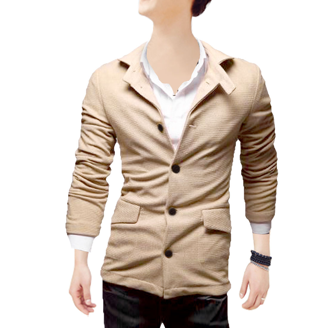 Men Long Sleeve Button Down Pockets Soft Coat Khaki M
