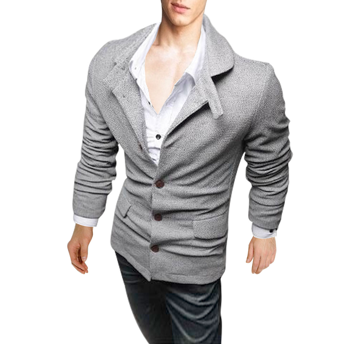 Men Convertible Collar Long Sleeve Warm Coat Light Gray M