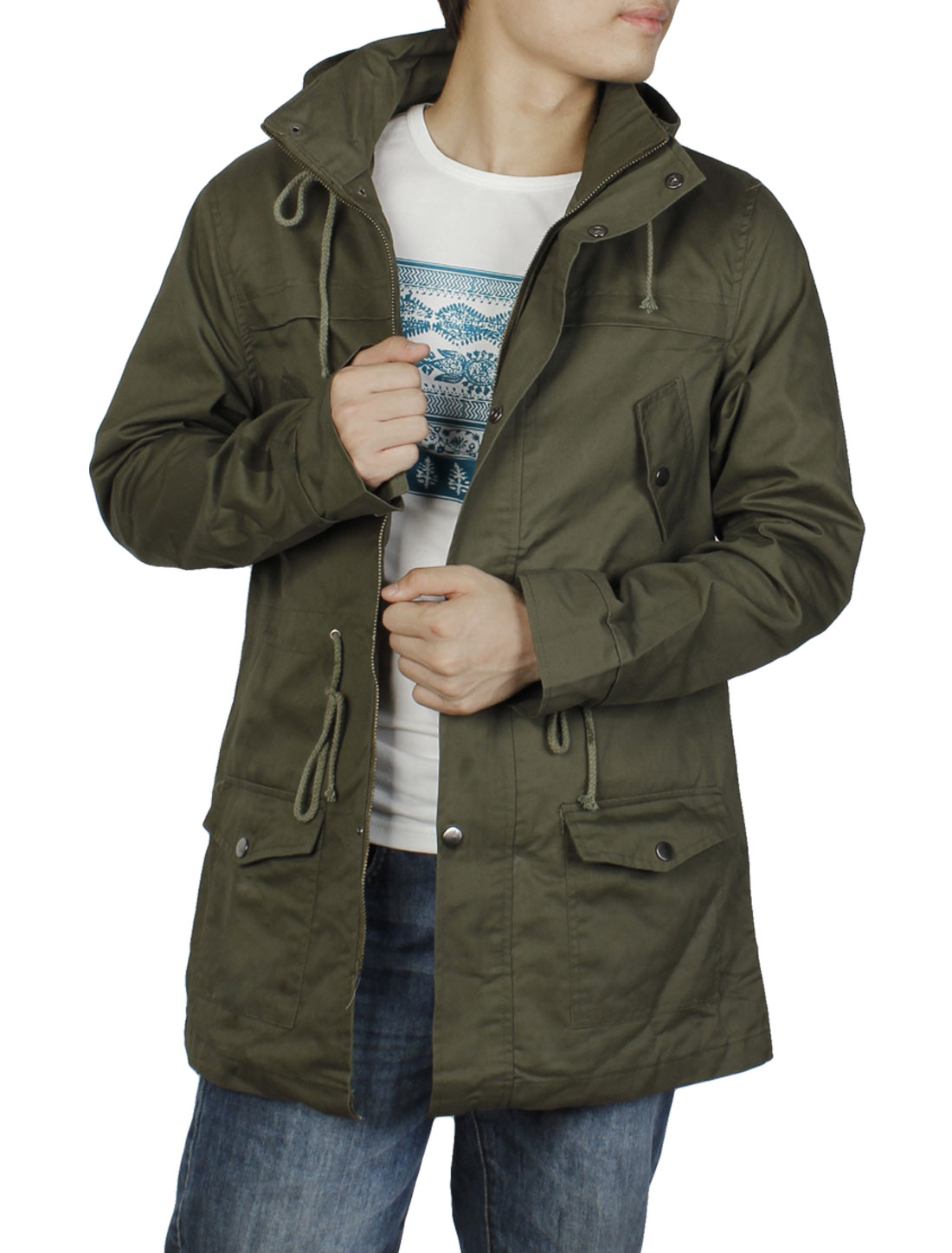Mens Double Stand Collar Zip-Up Front Drawstring Waist Army Green Jacket M