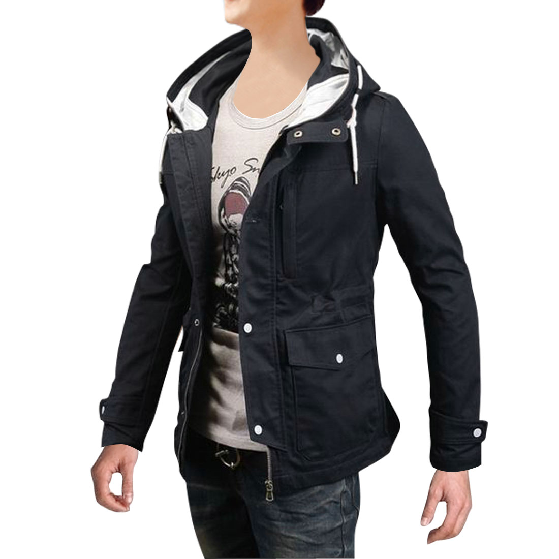 Men Hooded Zip Closure Pockets Front Jacket Navy Blue M
