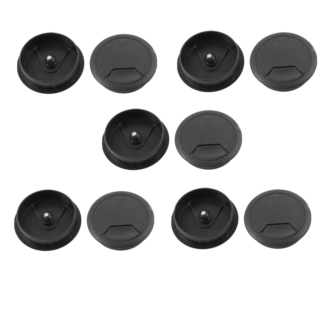 10pcs Office PC Computer Desk 50mm Diameter Grommet Cable Hole Cover Black