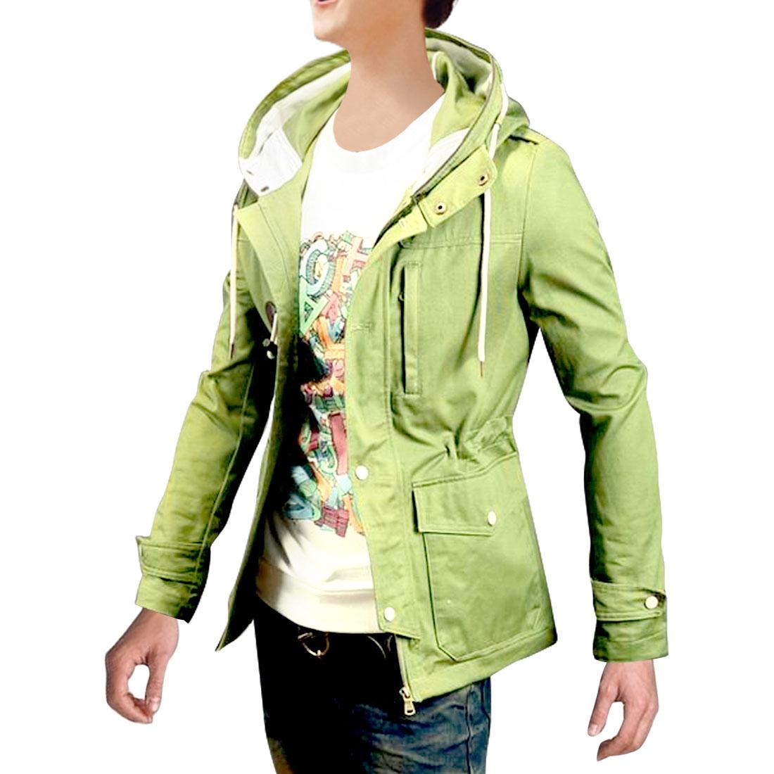 Men Long Sleeve Zip Front Spring Fall Jacket Light Moss M