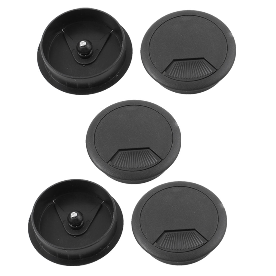 5 Pcs Home Office Desk Table Computer 60mm Cable Cord Grommet Hole Black