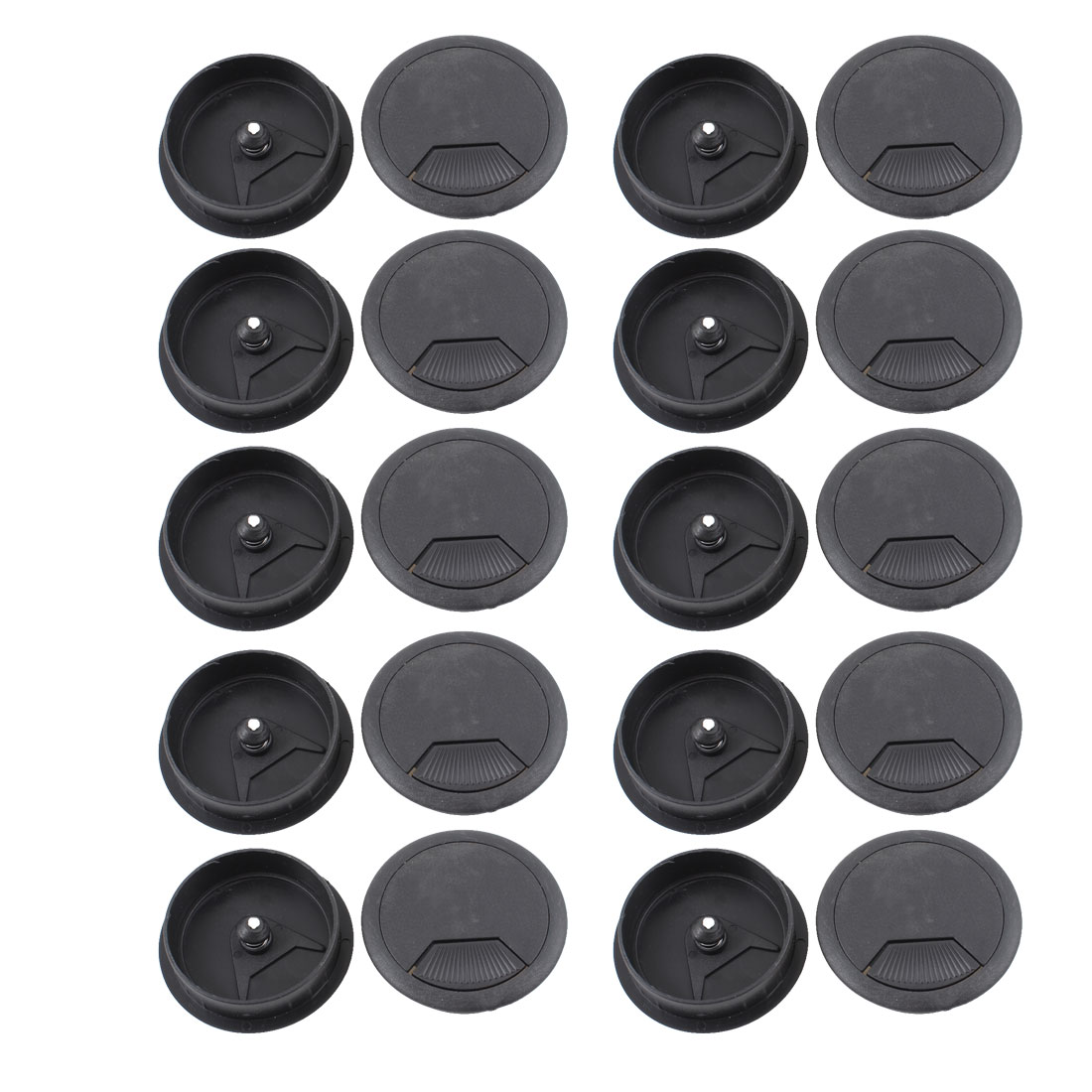 Computer Desk Plastic Grommet Wire Hole Cap Cable Cover 60mm Black 20pcs