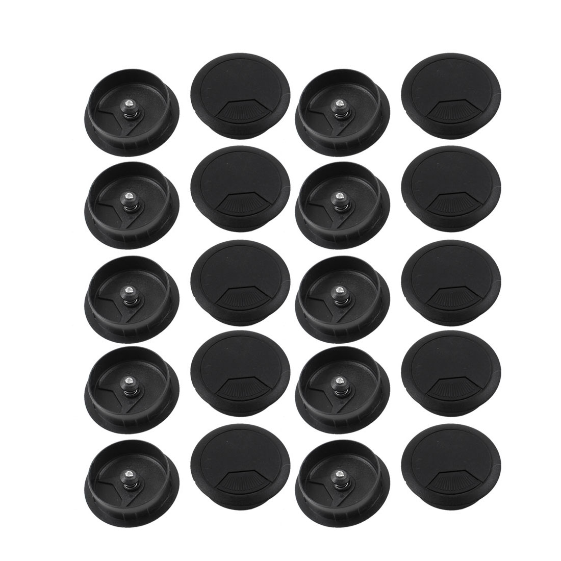 20 Pcs PC Computer Desk 48mm Diameter Black Plastic Cable Hole Cover Grommet