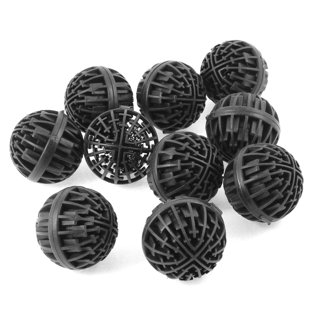 Aquarium Fish Tank Filter Strainer 42mm Dia Black Biochemical Bio Balls 10 Pcs
